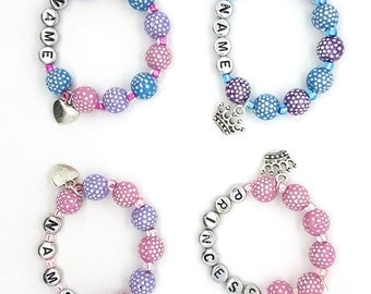Name bracelets, girls name bracelets, beaded name bracelet, girls party favor, girls birthday gift, princess bracelet, pink bracelet