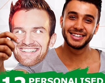 12 Personalised Face Masks Party Photo DIY Sets - Perfect for Birthdays, Hen Nights, Stag Parties Do it yourself Must be cut upon delivery