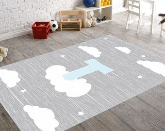 Cloud Rug, Nursery Rug, Cloud Nursery, Boy Nursery Decor, Cloud Decor,