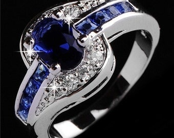 Sapphire Blue Ring and Crystals ~ Size 9-1/2