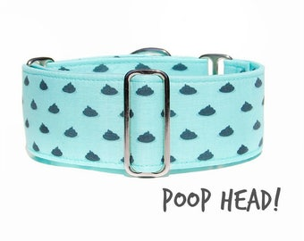 Mint Poop Dog Collar, Funny Hipster Polka Dot Martingale Collar, Fabric Cloth Adjustable Custom Collar, Extra Large to Small Options, Thick