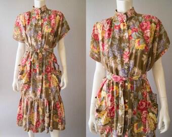 vintage 1980s dress / 40s inspired rayon floral dress / medium - large / Bloom Dress