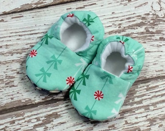 Christmas candy baby/toddler slippers