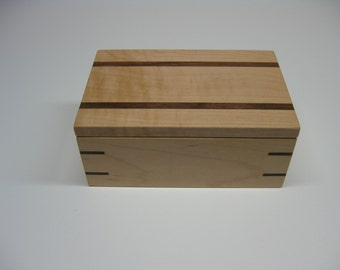 186  Wooden Box, Valet Box, Keepsake Box, Jewelry Box made from Maple with Black Walnut accents