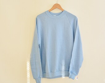 Vintage Sweatshirt New with Tags Light Blue 50/50 Cotton Poly Blend Jerzees by Russell Men's Size XL 46 Crew Neck Sweatshirt  Deastock