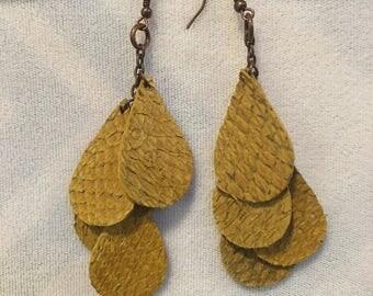 Salmon Leather tear drop earrings- mustard