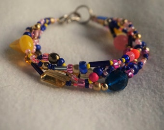 Bracelet Beads Yellow Gold Blue Pink