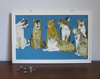 Vintage Cat Bulletin Board, Retro, Wall Hanging, Humorous, Funny, Cute, Framed Memo Message Board,Cat Lovers Gift, Blue,Office Kitchen Decor