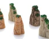 5 PC Green Stone Cliff Rock Miniature Garden Plants Terrarium Doll House Ornament Fairy Decoration GS030517