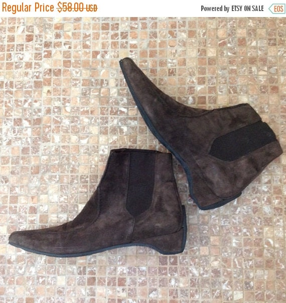 brown suede flat ankle boots luc bergen by blkbttrflydsgns