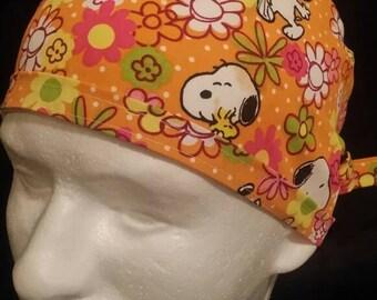 Snoopy on a Garden Walk Tie Back Surgical Scrub Hat