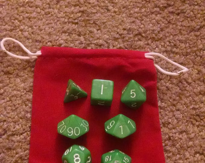 Mint Green - 7 Die Polyhedral Set with Pouch