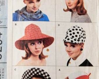 McCall's 8254 Wonderful mod hat wardrobe pattern from the 1960's