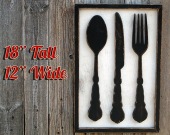 Framed Fork Spoon Apartment Decor Small Fork And Spoon Fork And Spoon Fork  And Spoon Decor