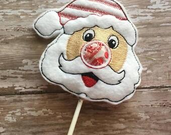 Santa Sucker Lollipop Holder - Rudolph - Christmas - Candy - Holder-  In The Hoop - DIGITAL Embroidery DESIGN