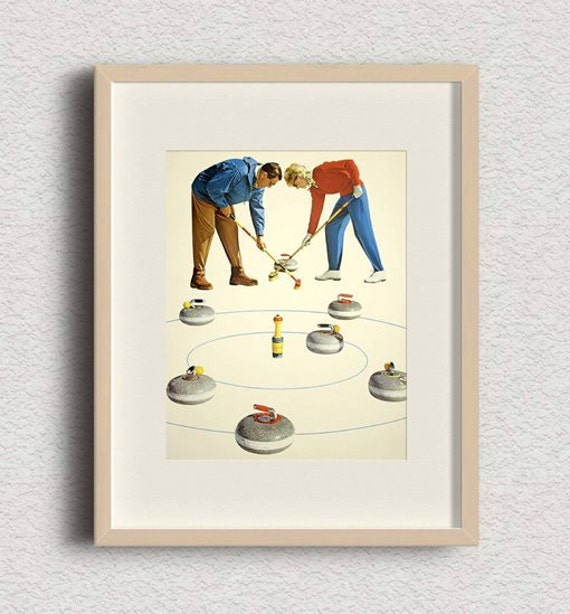 Curling Vintage Antique Stone Rock Art Print 8x10 5x7 Inch