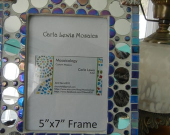 Mosaic Picture Frame: Blue, Mirror