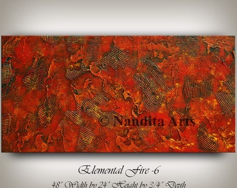 Red Wall Art abstract painting large wall artcontemporaryartdaily on etsy