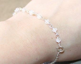 Dainty White Moonstone Bracelet, Sterling Silver, Layering Bracelet, Bridesmaid Bracelet, Minimalist Bracelet, Flower Girl Bracelet