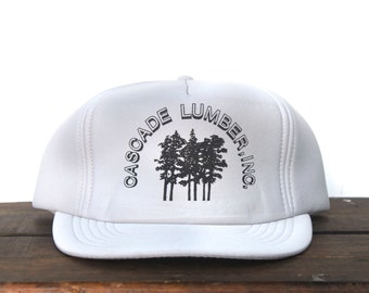 Vintage Cascade Lumber Inc Trees Forest Wood Trucker Hat Snapback Baseball Cap