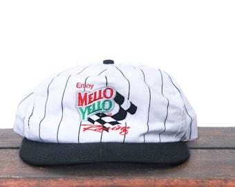 Vintage Enjoy Mello Yello Racing Nascar Lemon Lime Soda Pop Pinstripe Trucker Hat Snapback Baseball Cap