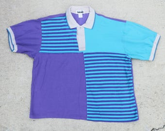 Vintage Wild 90's Striped Abstract Pattern Polo Oversize Collared Tee T Shirt Size Large XL