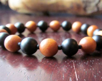 Sandalwood and Onyx Bracelet, Gift for Him, Gift for Men, Wood Bracelet, Matte Black Onyx Bracelet, Layering Bracelet, Beaded Bracelet