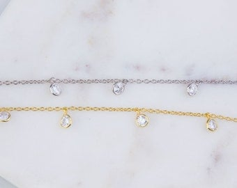 4mm Round CZ Chain by Foot, Bulk Chain By Foot, CZ Round Shaker Chains, Tiny CZ Chains, Ideal for Choker Chain, Belly Chain, Anklet, SCNF140