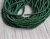 2-3mm Olive Green Coconut Shell Pucalet Rondelle Beads Dyed and Waxed 15 inch strand