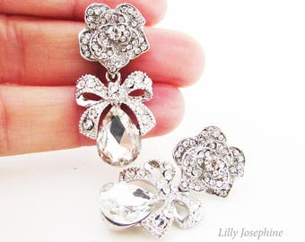 Silver Rhinestone and Crystal Flower and Bow Earrings, Bow Bridal Earrings, Wedding Jewellery, Silver Bow Earrings