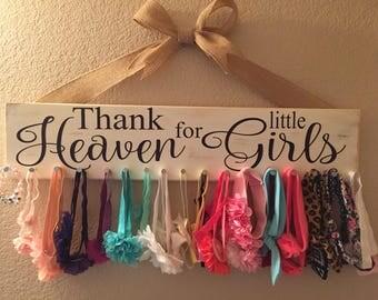 Thank Heaven for Little Girls Headband Jewelry Holder