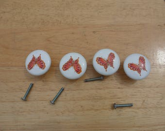 SALE- Set of 4 Orange and Red Butterfly Porcelain Knobs With Screws- Butterfly Drawer Pulls With Screws - Salvage Hardware - Cabinat Knobs