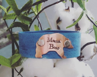 Handstamped women's leather cuff-leather bracelet-mothers jewelry-mama bear-mom cuff-inspirational-gift-friend