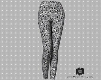 Paw Print Leggings Grey Leggings Premium Leggings Grey Dog Paw Print Leggings Fashion Tights And Leggings Fitness leggings Tight Yoga Pants
