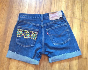 Levi's custom vintage ethnic stripe and yellow lace shorts