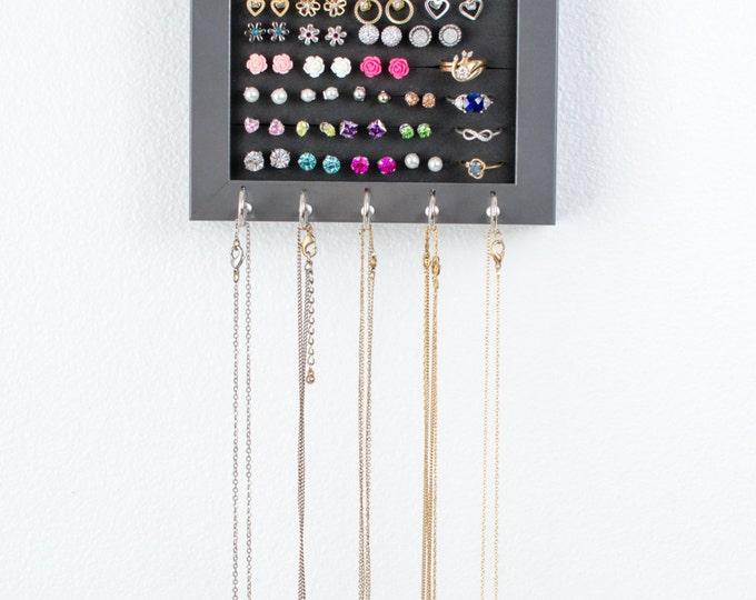 Wall Hanging Jewelry Organizer - 5x7 Gray Frame - Necklace Hooks