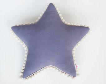 "Extra soft, violet pillow ""Star"" with pompoms (ecru), cushion"