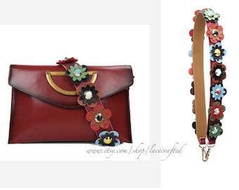 1Pc 90x4cm/35.4x1.57 inches Genuine Leather Single Shoulder bag handles Purse handle Flower Bag Strap Colorful Purse Strap