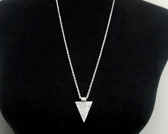 Silver triangle necklace, Long triangle necklace, Triangle necklace, Geometric necklace, Statement necklace, Layering necklace