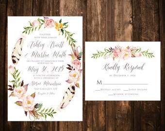 Bohemian Floral Wreath Wedding Invitations; Blush; Printable OR set of 25
