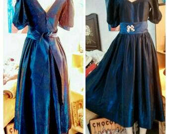 Laura Ashley Tea Length Cobalt Satin Gown