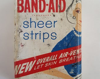 Vintage 1950's Band-Aid tin, Stylish woman on front, Johnson & Johnson, as found but may clean up well