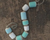 painted rustic driftwood beads, pale blue and aqua and white, beach beads, handmade, hand formed