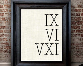 4th Anniversary Gift for Men | Roman Numeral Sign | 4 Year Anniversary Gift for Him | Linen Anniversary Gift Idea | Personalized Gift