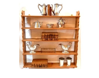 Pine Wall Shelf Hanging Display 5 Tiered Display Shelves Farmhouse Chic Cottage Style Kitchen Bathroom Open Shelves