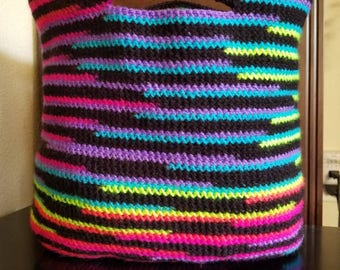Neon striped tote