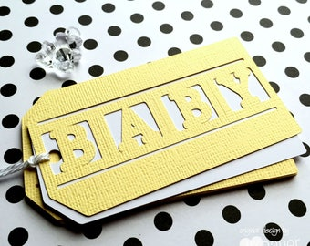 Pastel Yellow BABY gift tags. Baby shower - baby boy, baby girl, new baby, gender reveal, unisex. Baby shower favor tags, gifts.