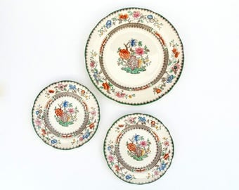 Old Spode Copeland Plates in Chinese Rose Pattern - Set of 3