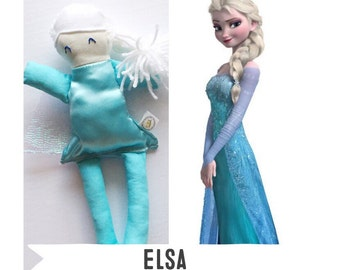 Ready to ship // Elsa Addie Doll, Disney Princess, Handmade Doll, Birthday Gift, Collectible Doll, Frozen, Made to Order, Disney