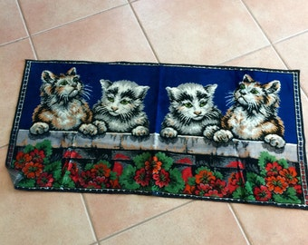 Vintage Velvet Cat Tapestry Rug with 4 Tabby Kittens and Red Geraniums